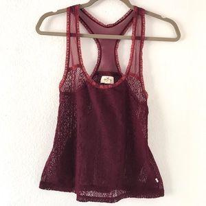 Hollister maroon tank blouse mesh small